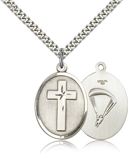 Sterling Silver Cross / Paratrooper Pendant