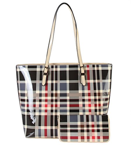 diophy-shiny-patent-pu-leather-classical-plaid-pattern-large-tote-with-wallet-2-pieces-set-womens-pu