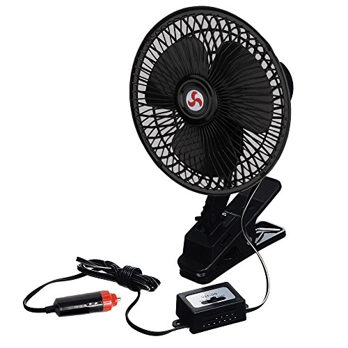 Zento Deals 12V Portable Oscillating Fan-Universal Sturdy Mounted on Vehicle with Clip (Car Amps With Cooling Fans compare prices)