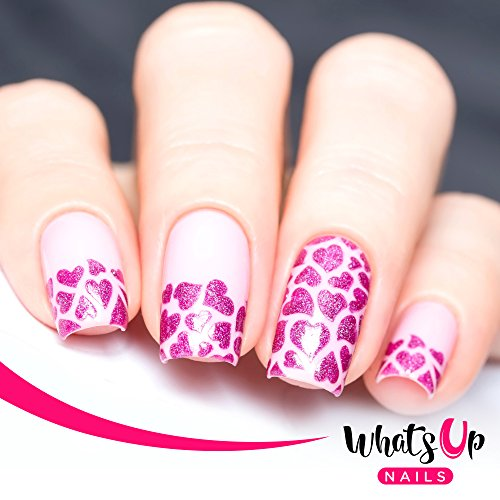 Whats Up Nails - Hearts Nail Stencils Stickers Vinyls for Nail Art Design (2 Sheets, 24 stencils Total) (Heart Fingernail Polish compare prices)