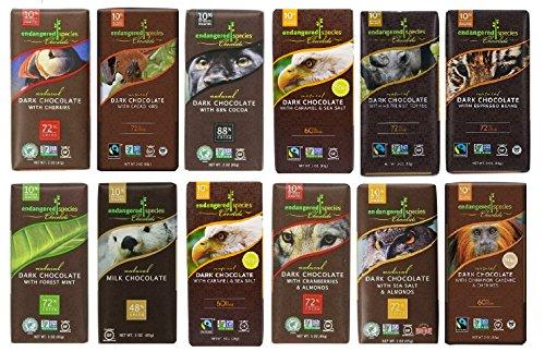 Endangered Species Chocolate Variety Pack 12 Flavors (Pack of 12) -------------(Dark Chocolate with Cinnamon Cayenne, Dark Chocolate with Sea Salt & Almonds, Dark Chocolate with Cherry, Tiger Dark Espresso Beans, Rain Forest Dark Mint, Grizzly Dark Raspberry, Wolf Dark Cranberry Almond, Sea Otter Milk Chocolate, Chimpanzee Dark Chocolate, Hazelnut Toffee, Panther Extreme Dark Chocolate, Artic Fox with Pumpkin Spice) (Cayenne Chocolate compare prices)