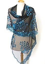 """All Hand Made Peacocks Sequined Scarf . Beautiful Designs ,Elegant and Fashion Peacock For All Year Round , Soft Touch w/Convenient Size at 24"""" x 62"""" +7""""x2 Good For All Seasons. Super Saving,100% Satisfaction Guaranteed ! The Most Wonderful Birthday Gift"""