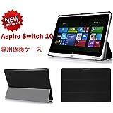 【ShineZone】Acer Aspire Switch 10 専用保護ケース 超薄型 高級PUレザー・三つ折・スタンド機能 (ブラック)