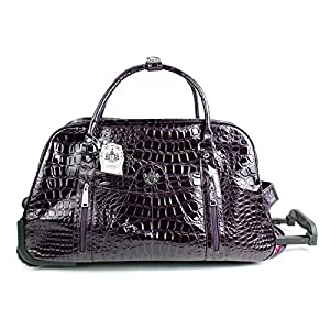 Aossta Womens Lydc Luggage Mock Croc Wheeled Travel Holdall Trolley Bag