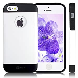 JETech® Gold Super Fit iPhone 5/5S Case for Apple iPhone 5 5S Logo Cut-Out (TPU-White)