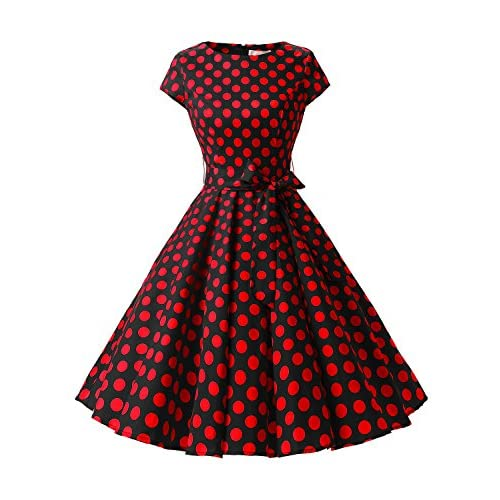 Dressystar Vintage 1950s Polka Dot and Solid Color Party Prom Dresses Rockabilly Cap Sleeves