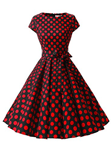 Dressystar Vintage 1950s Polka Dot and Solid Color Prom Dresses Cap-sleeve XS Black Red Dot B