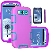 Galaxy S3 Case, EC™ 3in1 Shockproof Case, Hybrid Armor Rubber Combo Impact Silicone Case Cover for Samsung Galaxy S3 i9300 with Screen Protector and Stylus (Blue/Purple)