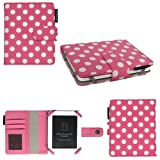 Aquarius 5 inch Premium Polka Dot Bicast Leather Case for Kobo Mini eReader - Pink