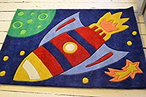 Childrens Play Rocket Rugs 70 x 100cm Perfect for any little boys room cheap and affordable high quality Rugs