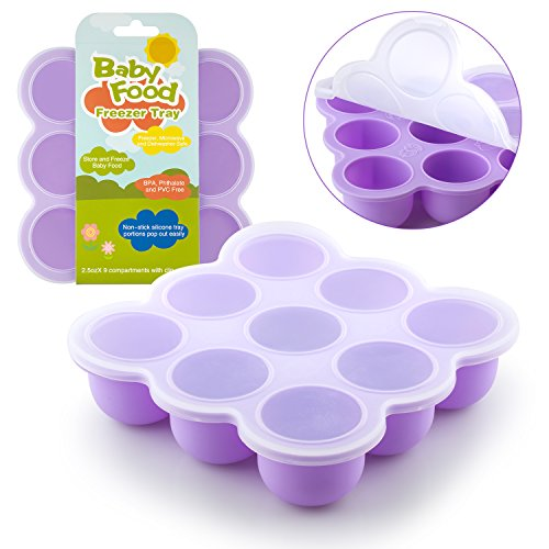Samuelworld Baby Food Storage Container, Baby Food Freezer Tray with Lid, 9x2.5oz BPA Free, FDA Approved, Silicone, Perfect For Homemade Baby Food, Vegetable & Fruit Purees and Breast Milk (purple) (Baby Freezing Containers compare prices)