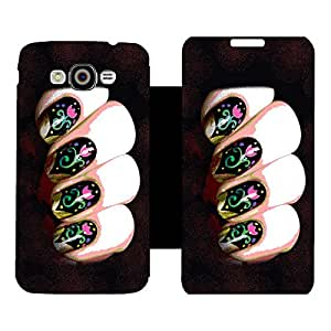 Skintice Designer Flip Cover with Vinyl wrap-around for Samsung Galaxy Grand Max, Design - nail art