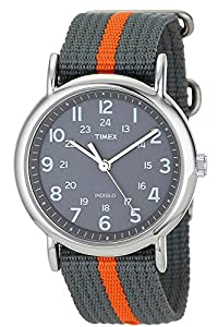 "Timex Unisex T2N649 ""Weekender"" Watch with Gray and Orange Nylon Strap"