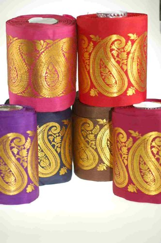 Beautiful 10.8cm wide ribbon; Beautiful Paisley Mogul India Jacquard designs, Traditional Mogul Jacquard Inspired sari Indian ribbon border; Great For Crafts and Hobbies; 6 Beautiful Colour options (1 Mocha (2 Navy Blue (3 Cerise (4 Red (5 Violet (6 Burgundy; Great Quality. washable