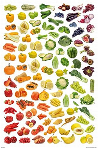 Posters: Cuisine Poster Art Print - Rainbow Collection Of Fruit And Vegetables (47 X 31 Inches) front-1013516