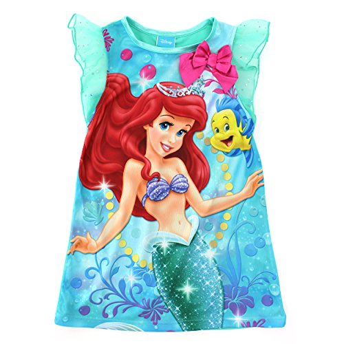 Little Mermaid Ariel Girls Green Poly Nightgown Pajamas