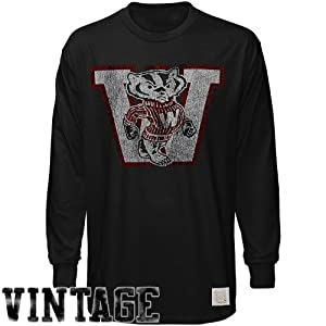 NCAA Original Retro Brand Wisconsin Badgers Black Distressed Crew-Neck Vintage... by Original Retro