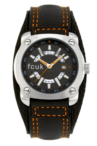 French Connection Men's Quartz Watch with Black Dial Analogue Display and Black Leather Strap FC1057SBO