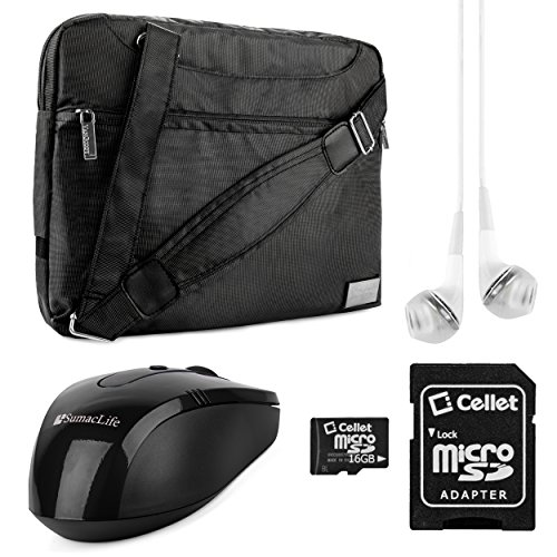 Vangoddy Nineo Collection Messenger Bag For Asus Chromebook C300 13.3-Inch Laptops (Gray & Black) + Black Wireless Usb Mouse + White Vg Headphones + 16Gb Memory Card
