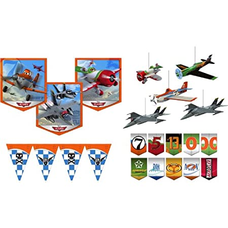 Disney Planes Room Transformation Kit. One Disney Planes Room Transformation Kit contains 3 large wall cutouts, 5 hanging planes, 10 hanging character banners, and a flag banner. An easy way to decorate!