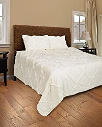 Rizzy Home Posh 3-Piece Quilted Bed Set, King, Ivory