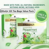 Twinings Peppermint 80 Tea bags x 4 (4 Pack of 80, Total 320 Teabags)