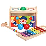 DEHANG Wooden Toy Pound and Tap Bench with Slide out 8 Tone Music Xylophone Glockenspiel