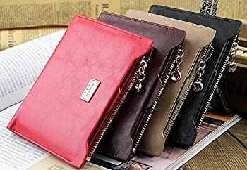8. Miraclekoo Bi-fold Wallet Slim Purse Credit Card Holder Womens/Mens Soft Leather Zipper Handbag.