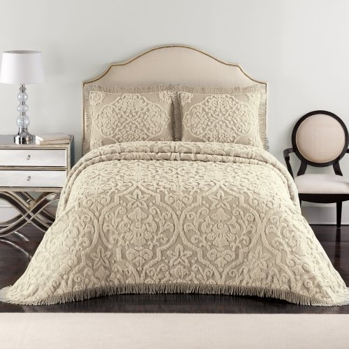 Lamont Home Layla Bedspread, Queen, Taupe/Linen front-1056928