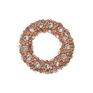 Beadelle Crystal 14mm Round Pave Ring - Rose Gold Plated Pendant Link (1)