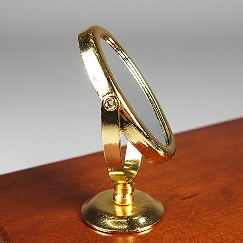 Golden Makeup Cosmetic Oval Mirror Metal Miniature Doll House Accessory Gift Toy