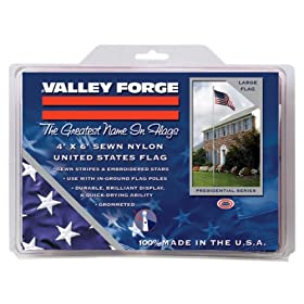 Valley Forge Nylon Replacement Flag With Sewn Stripes & Embroidered Stars 4 Foot x 6 Foot