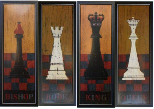 Chess Set 4 Warren Kimble Folk Art Framed Print Picture