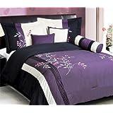 Purple Black, White, Pink Comforter Set Vine Bed In A Bag Queen Size Bedding