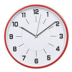 HITO™ High Quality 12-Inch Silent Non-ticking Wall Clock w/ Metal Frame and Front Glass Cover (Red)