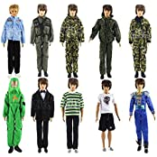 SET OF 5 PCS Fashion Army Solider Casual Wear Clothes/outfit For Barbie's BoyFriend Ken Doll