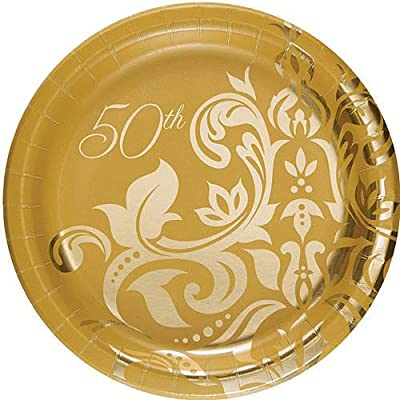 Golden 50th Anniversary 7-inch Paper Plates 18 Per Pack