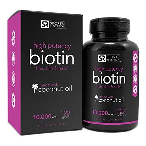 Biotin 10,000mcg in Cold-Pressed Organic Coconut | Non-GMO & Gluten Free - 120 Mini Veggie Softgels