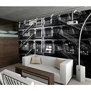 91x124 new york fire escapes wallpaper mural for Amazon mural wallpaper