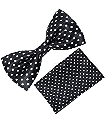 Greyon Black with white Dot Bow tie With Pocket Square (GNA002)