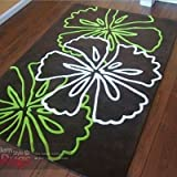 Atria Brown Lime Green White Large Luxury Thick Designer Modern Rugs 3 SIZES AVAILABLE, 120x170cm (4ft0''x 5ft7'')