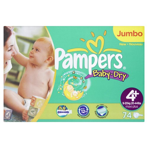 Pampers Baby-Dry Size 4+ (20-44 lbs/9-20 kg) Nappies - 2 x Jumbo Packs of 74 (148 Nappies)