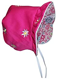 N\'Ice Caps Baby Girls Solid to Print Reversible Sun Bonnet (Infant Medium (6-12 months), fuchsia solid/fuchsia print)