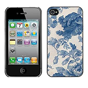 Omega Covers - Snap on Hard Back Case Cover Shell FOR Apple iPhone 4 / 4S - Vignette Blue Porcelain Wallpaper