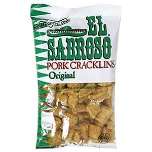 El Sabroso Pork Cracklins, Original, 5-Ounce Bags (Pack of 18)