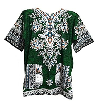 Dashiki Shirt African Caftan Festival Shirt Unisex Dashiki Green Medium Size