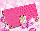 myLife (TM) Rose Pink {Crocodile and Bling Buckle Design} Faux Leather (Card, Cash and ID Holder + Magnetic Closing) Slim Wallet for the iPhone 5C Smartphone by Apple (External Textured Synthetic Leather with Magnetic Clip + Internal Secure Snap In Hard Rubberized Bumper Holder)