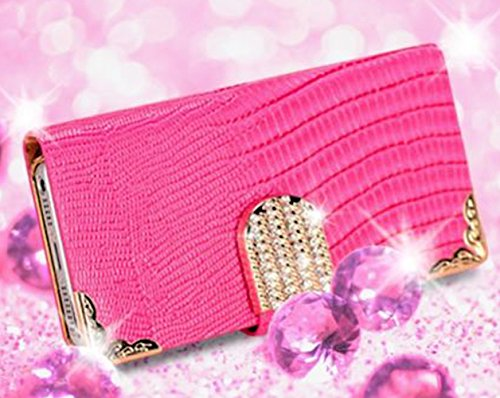 Mylife (Tm) Rose Pink {Crocodile And Bling Buckle Design} Faux Leather (Card, Cash And Id Holder + Magnetic Closing) Slim Wallet For The Iphone 5C Smartphone By Apple (External Textured Synthetic Leather With Magnetic Clip + Internal Secure Snap In Hard R