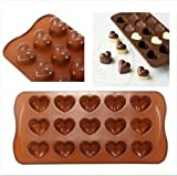 Mini Moules Silicone Chocolat Forme Coeur & Friandise - Marron, Forme coeur