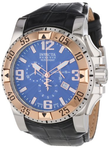 Invicta Excursion Men's Quartz Watch with Blue Dial  Chronograph display on Black Leather Strap 10900